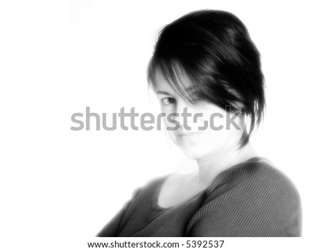 Black and white portrait of forty year old brunette.