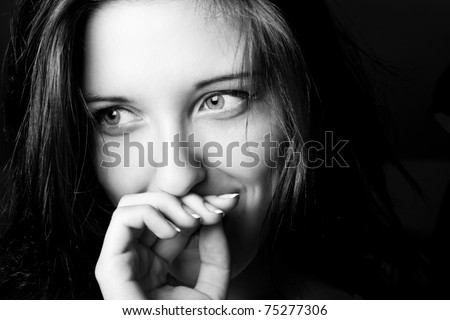 black and white portrait of good young girl - stock photo