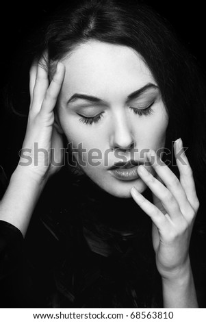 Black and white portrait of lady with closed eyes - stock photo