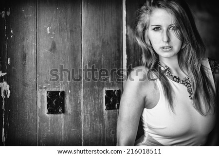 black and white portrait of sensual woman - stock photo