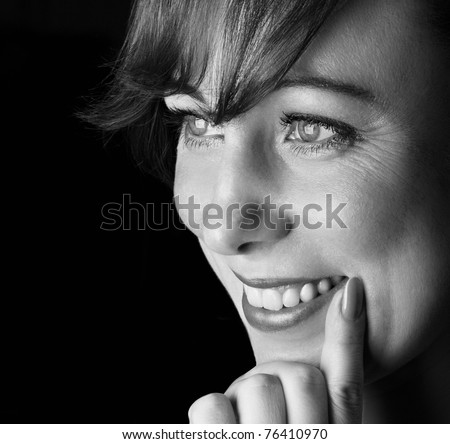 black and white portrait of smile woman. - stock photo