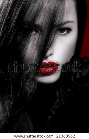 black and white portrait with red lips