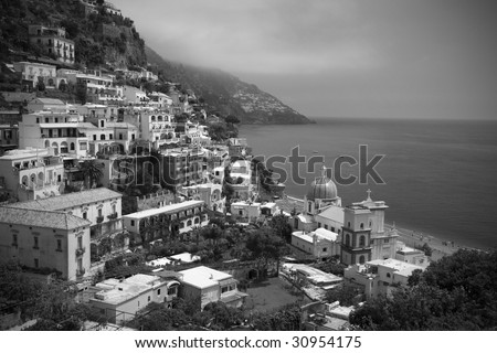 Black and white, Positano, Italy - stock photo