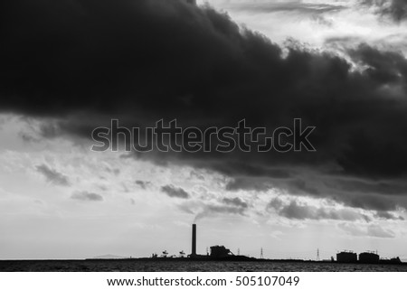 black and white power plant factory silhouette