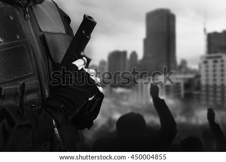 black and white protest police  - stock photo