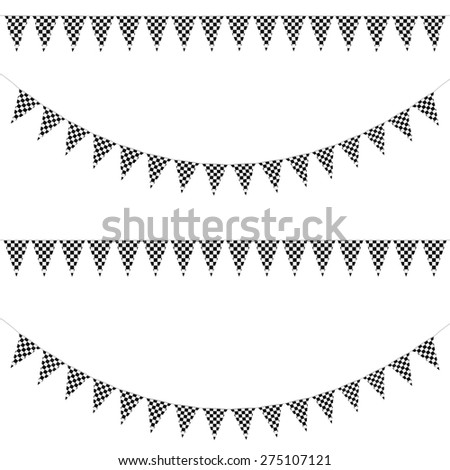 Black and White Race Finishing Line Checkers Bunting Collection: 3D reflection and flat orthographic textures - stock photo