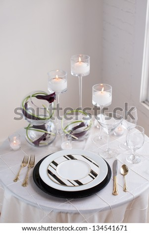 Black and White Reception Table Setting - stock photo