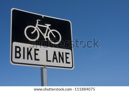 Black and white reflective Bike Lane sign - stock photo