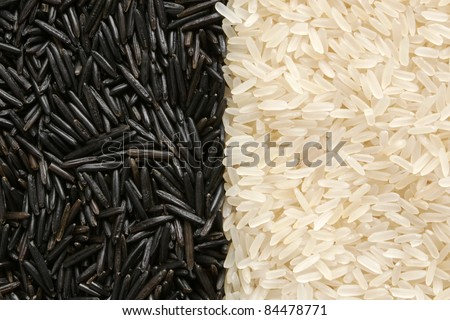 Black and white rice, for backgrounds or textures - stock photo