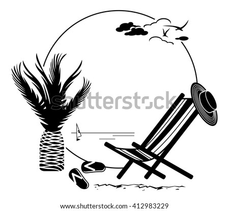 Black and white round frame with palm tree silhouette. Raster clip art. - stock photo