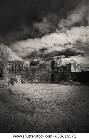 Black and white ruins of an English castle