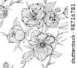 Black and white seamless background with flowers (see eps version in my portfolio) - stock photo