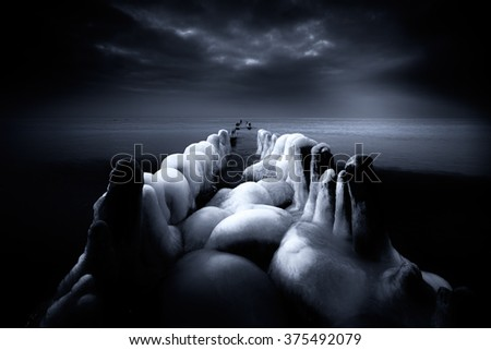 black and white seascape - stock photo