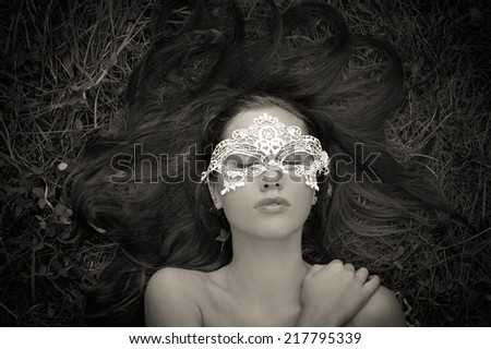 black and white sensual portrait of beautiful brunette young lady - stock photo