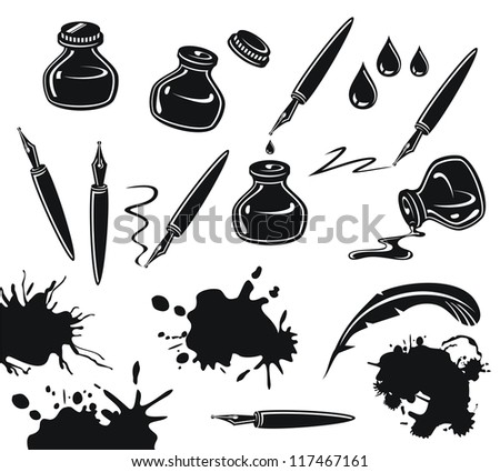 Black and white set with pens, ink pots and spills - stock photo