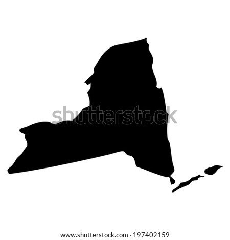 Black and white shape of the State of New York - stock photo