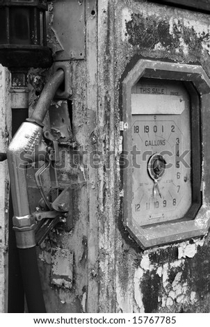 Black and white shot of an abandoned fuel pump - stock photo