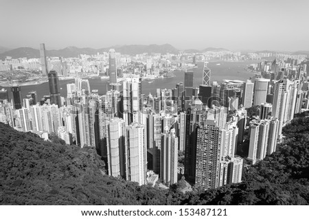 Black and white shot of Hong Kong from Victoria Peak. - stock photo