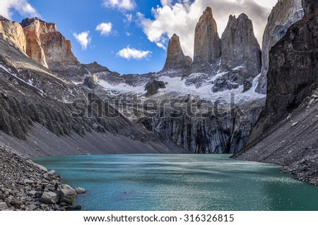 black and white shot of the Towers in the Torres del Paine National Park, Patagonia, Chile - stock photo