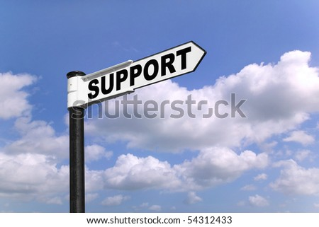 Black and white signpost with the word Support
