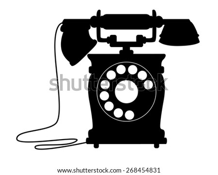 Black and white silhouette illustration of an old-fashioned dial up telephone with a handset on a cradle - stock photo
