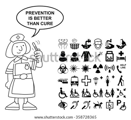 Black and white silhouette medical and healthcare related graphics collection isolated on white background with prevention is better than cure saying - stock photo