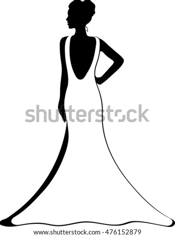 Black and White Silhouette of a Bride
