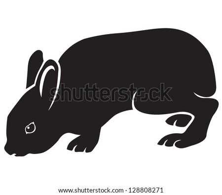 Black-and-white silhouette of a cute sitting hare