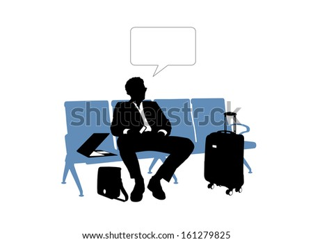 black and white silhouette of a young handsome businessman seated in the lounge area of an airport waiting for his flight, a vacant text bubble above him - stock photo
