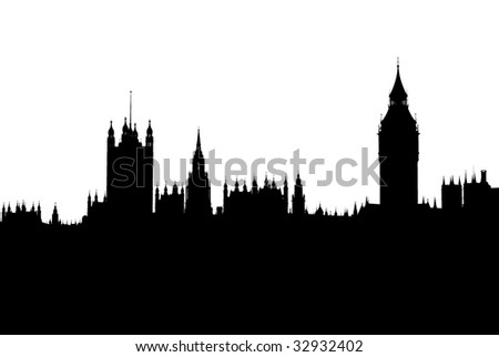 Black and white silhouette of London houses of parliament and big ben skyline - stock photo