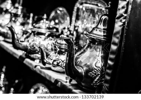 Black and white Silver Tea Pot - stock photo