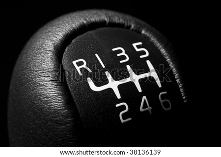 Black and white six speed manual gear stick - stock photo