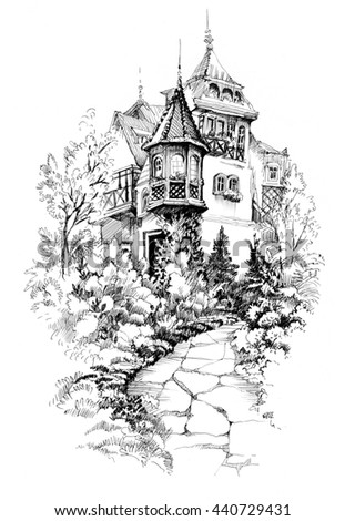 Black and white sketch cityscape with houses illustration. - stock photo