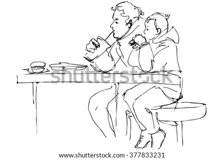 black and white  sketch father and son at the table in a cafe - stock photo