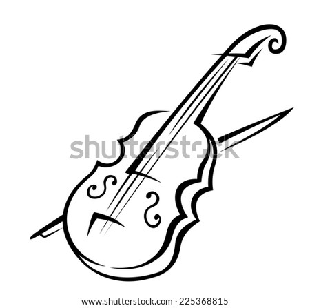 Black and white sketch of a violin isolated on white background for music design - stock photo