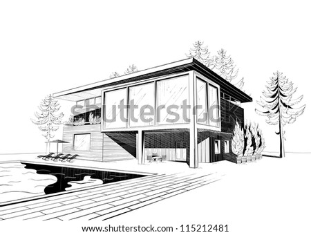 Black and white sketch of modern suburban wooden house with swimming pool (see eps version in my portfolio) - stock photo
