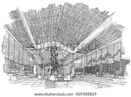 Black and white sketch of the interior design.