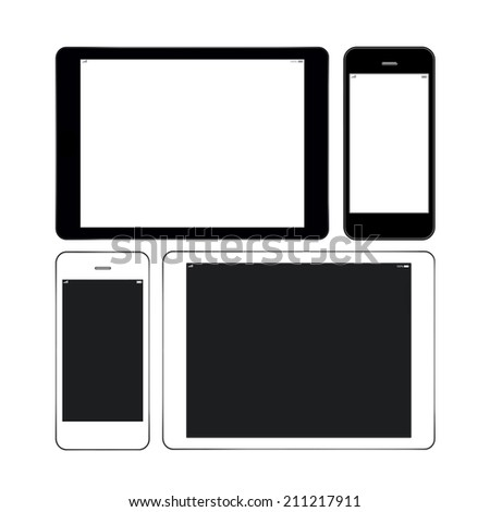 Black and white smart phones and tablets similar to iphone and ipad - stock photo