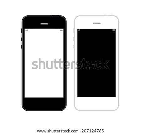 Black and white smart phones iphone style on white background - stock photo