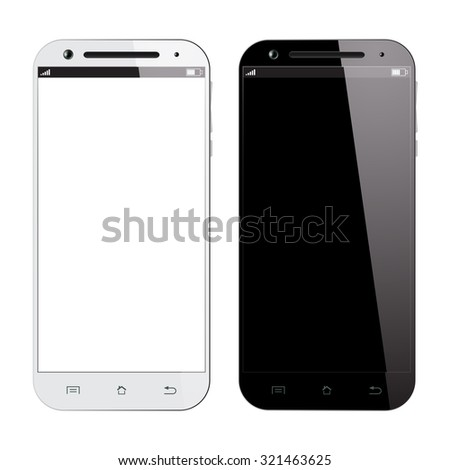 Black and white smartphone isolated on white background. Realistic design smart phones. Mobile phone mockup. - stock photo