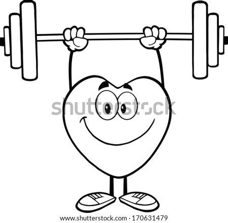 Black And White Smiling Heart Cartoon Mascot Character Lifting Weights. Raster Illustration Isolated on white - stock photo