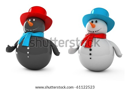 Black and White Snowman - stock photo