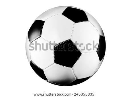 Black and white soccer ball isolated on white background. - stock photo