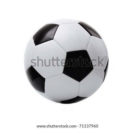 black and white soccer ball on the white background - stock photo