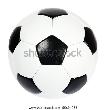 black and white soccer ball on the white background. (isolated) - stock photo
