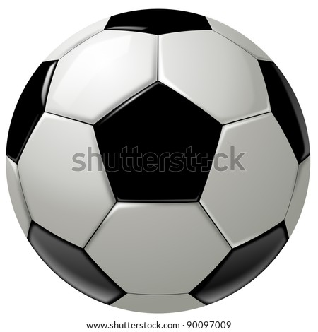Black and white soccer ball or football, graphic, white background - stock photo