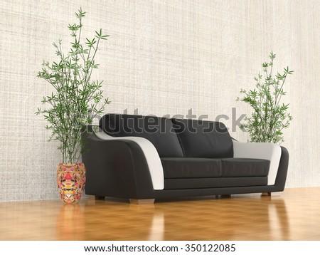 Black and white sofa - angled view - stock photo