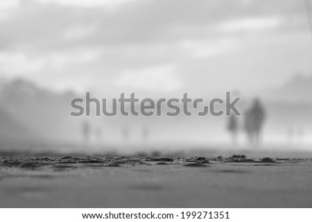 Black and White. soft focus people walking on beach 2 - stock photo
