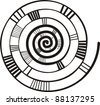 black and white spiral. abstract background. - stock vector