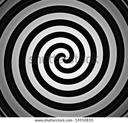 black and white spiral gradient background - stock photo